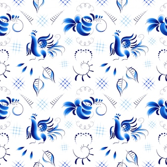 Blue birds and roses in gzhel style