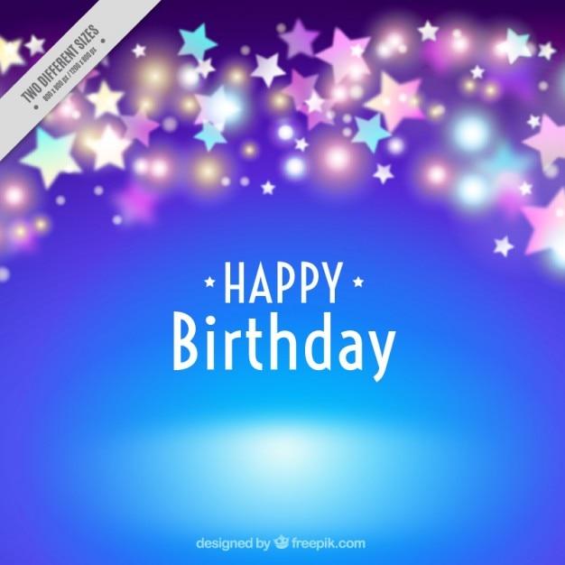 Blue birthday background with bright stars