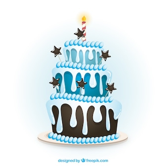 Blue birthday cake in cartoon style