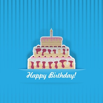Blue birthday card with cake, cut from paper