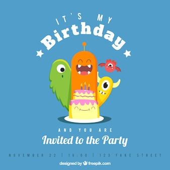 Blue birthday card with monsters