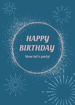 Modello di auguri di compleanno blu con illustrazione di fuochi d'artificio a raffica
