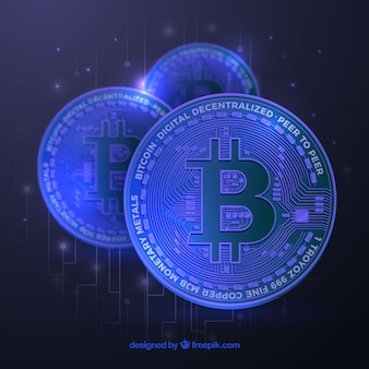 Blue bitcoin background