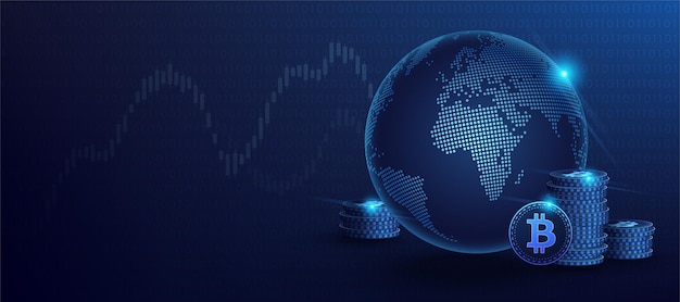 Blue bitcoin digital currency and world globe hologram