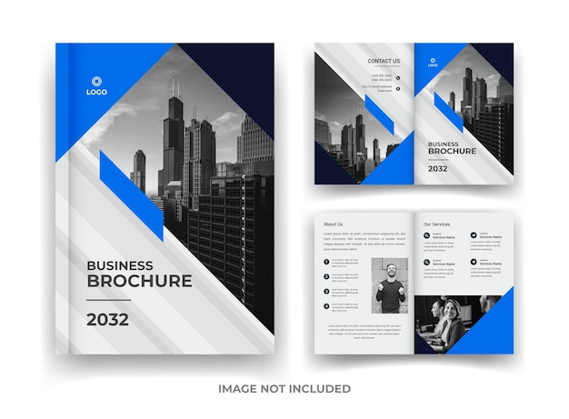 Blue and black 04 page business brochure design and annual report and magazine template