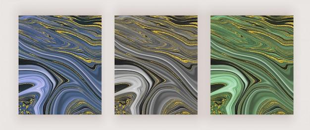 青、黒、緑、金色のキラキラ液体水墨画の抽象的なデザイン