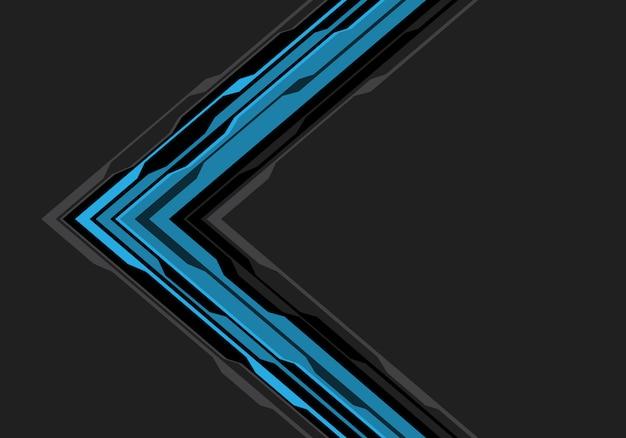 灰色の空白スペースの背景に青い黒い矢印回路。