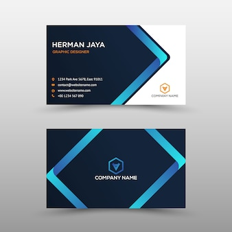 Blue and black business card template