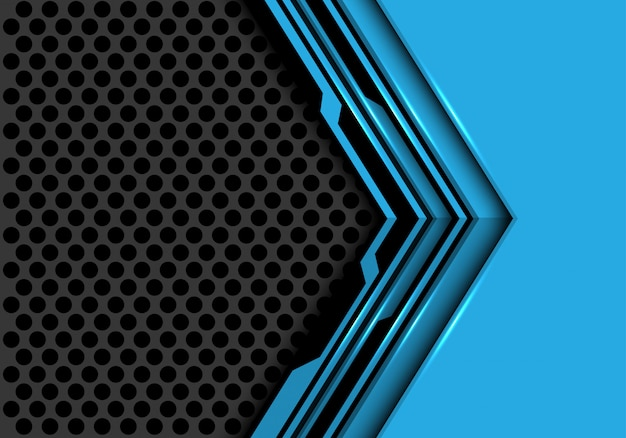 Blue black circuit arrow direction grey circle mesh background.