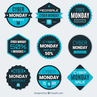 Blue and black cyber monday labels