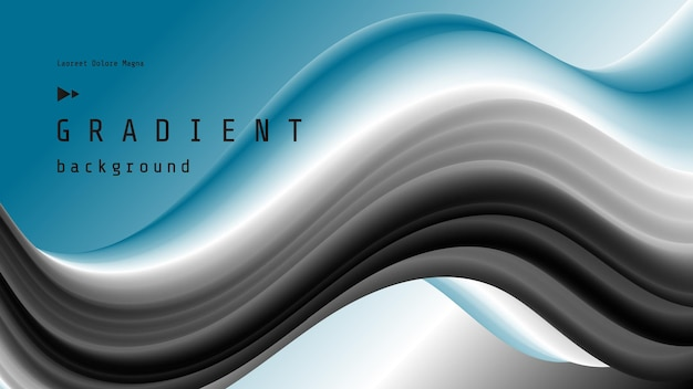 Blue and black fluid wave sports background with gradient 3d flow shape