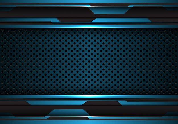 Blue black futuristic with metal circle mesh background.