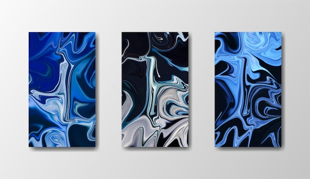 Blue, black and gold marble background set