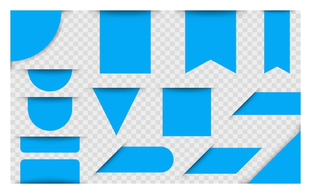 파란색 빈 가격 태그, 레이블 또는 배지. 광고용 리본 배너입니다. 벡터 배너입니다. 벡터 일러스트 레이 션