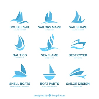 Blue boat logos in abstract style
