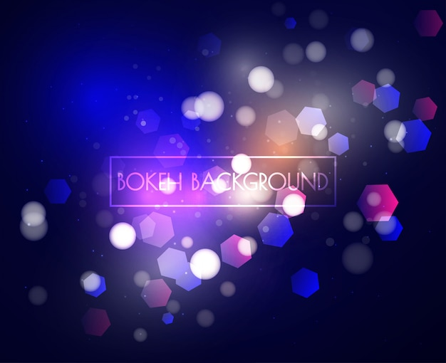 青いボケライトとキラキラの背景のベクトル