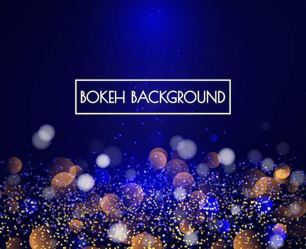 Blue bokeh lights and glitter background vector