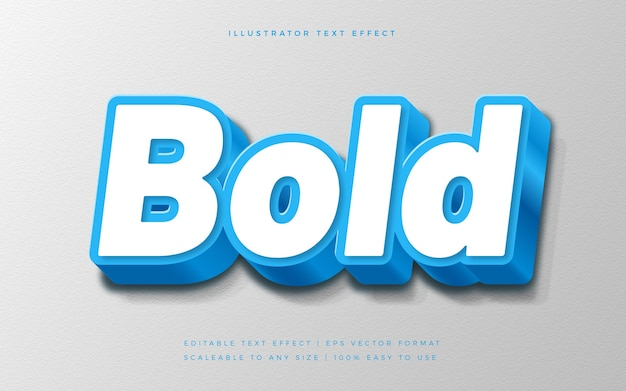 Blue bold 3d text style font effect