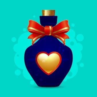 골든 하트와 빨간 리본 파란색 병. 사랑이나 독의 마법의 비약.