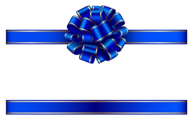 青い弓と金の縁取りのリボン