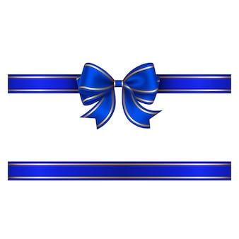 골드 테두리가 있는 파란색 활과 리본