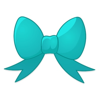 Blue bow in cartoon style. christmas vector illustration on a white background