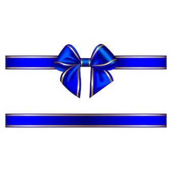 Blue bow and ribbon with gold edging
