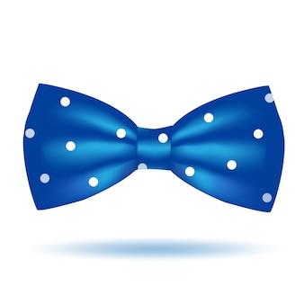 블루 나비 넥타이 아이콘 흰색 배경에 고립