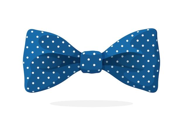 Синий галстук-бабочка с принтом в горошек векторная иллюстрация в мультяшном стиле