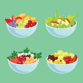 Blue bowls with veggies and fruit