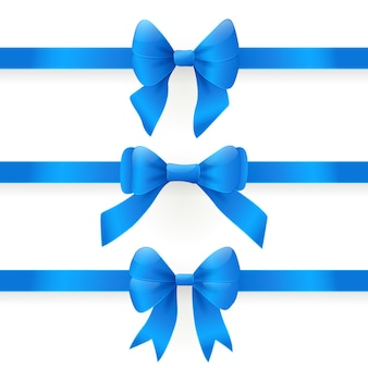Blue bows. set of design elements on white backgound