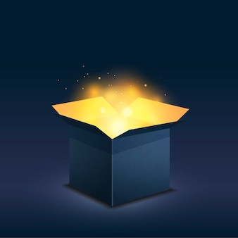 Blue box with magic golden light on dark background
