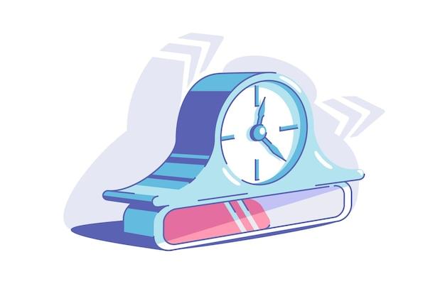 파란색 브래킷 시계 벡터 일러스트입니다. 진행 플랫 스타일의 상징으로 시계. 다이얼의 화살표는 시간을 표시합니다. 시간 파리와 마감일 개념. 외딴