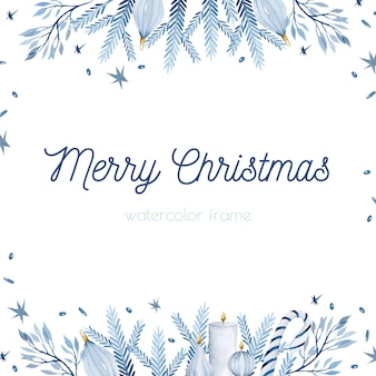 青い枝水彩クリスマスボーダーフレーム背景