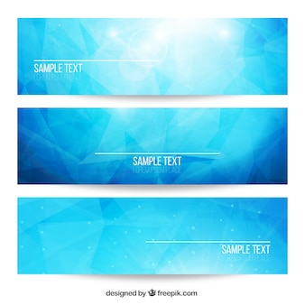 Blue bright abstract banners