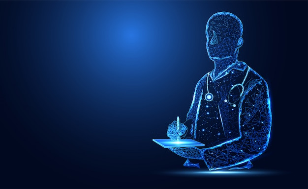Blue bright doctor silhouette background