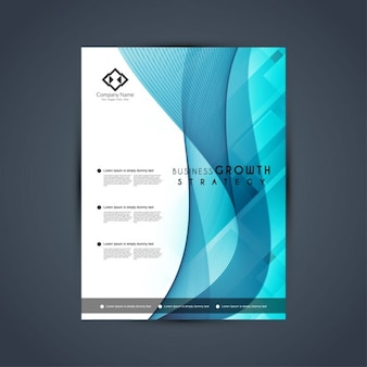 Blue brochure decorated with wavy shapes