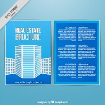 Blue brochure of real estate