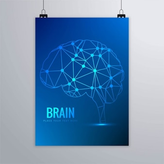 Blue brochure with a geometric brain