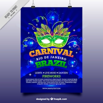 Blue brochure with mask for brazilian carnival