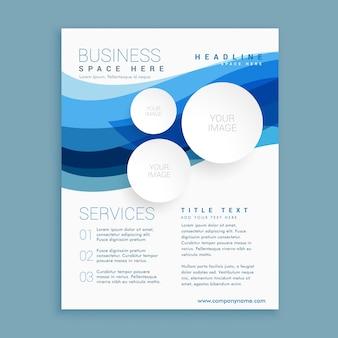 Elegante onda blu brochure aziendale modello di progettazione volantino a4