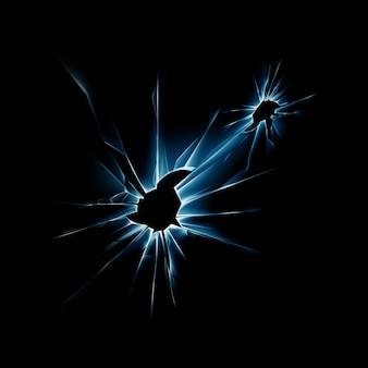 鋭いエッジを持つ青い割れたガラス窓