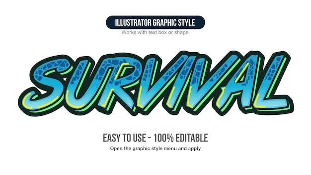 Blue brush graffiti pattern text effect