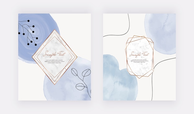 Blue brush stroke watercolor cards with marble geometric frames, lines and leaves.