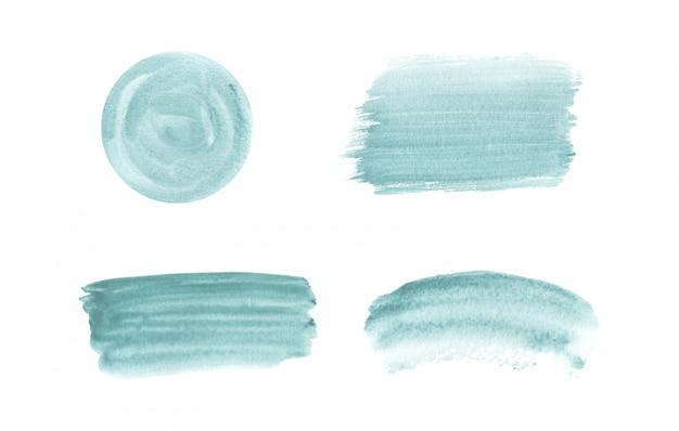 青いブラシストローク水彩テクスチャ。手描きの水彩画の洗浄。