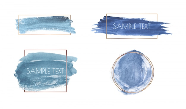 Blue brush stroke watercolor texture with gold polygonal frames.