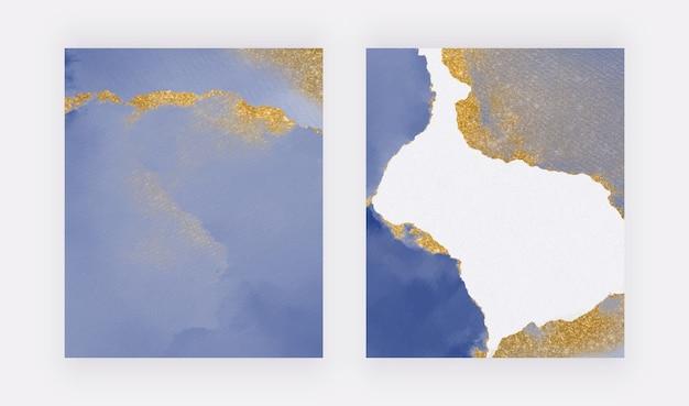 황금 반짝이 질감 배경으로 파란색 브러시 스트로크 수채화