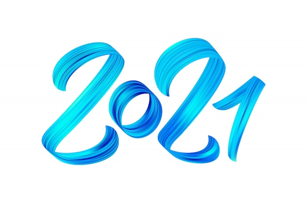 Blue brushstroke acrylic paint number of 2021. happy new year