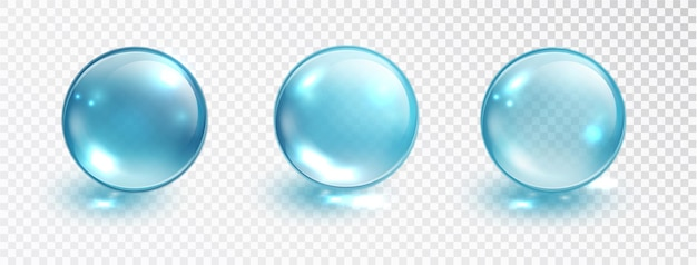 투명 한 배경에 고립 된 파란색 거품 집합입니다. 물 거품 또는 유리 공 템플릿입니다. 현실적인 매크로 벡터 일러스트 레이 션.