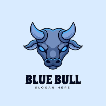 Синий бык творческий талисман логотип мультяшное животное